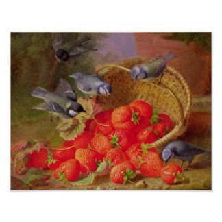 Still Life with Strawberries and Bluetits Poster