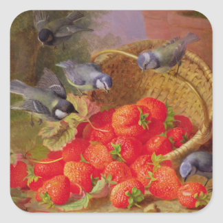 Still Life with Strawberries and Bluetits Square Sticker