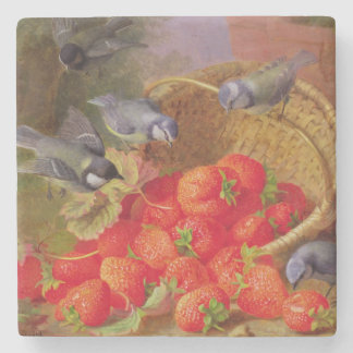 Still Life with Strawberries and Bluetits Stone Coaster
