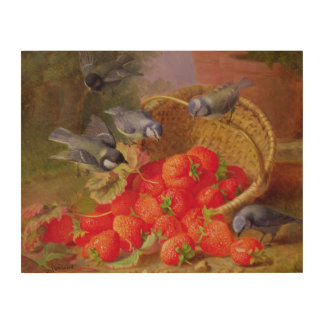Still Life with Strawberries and Bluetits Wood Canvas