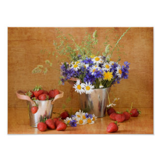 Still life with strawberries and wild flowers poster