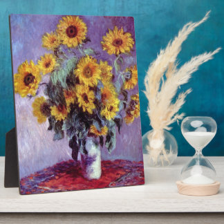 Still Life with Sunflowers by Claude Monet Plaque