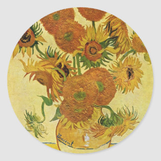 Still Life With Sunflowers By Vincent Van Gogh Classic Round Sticker