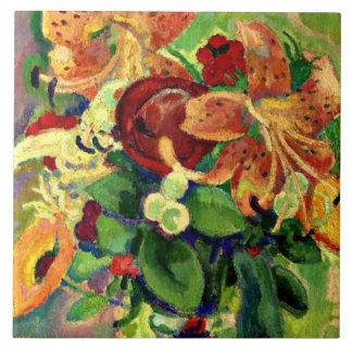 Still Life with Tiger Lilies; Leo Gestel painting Tile