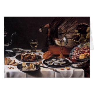 Still Life with Turkey Pie - Pieter Claesz Card