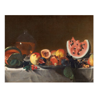 Still life with watermelons and carafe postcard