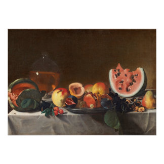 Still life with watermelons and carafe poster