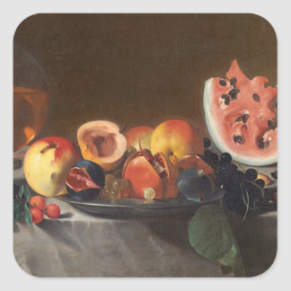 Still life with watermelons and carafe square sticker