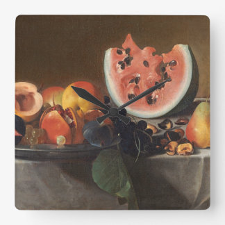 Still life with watermelons and carafe square wall clock