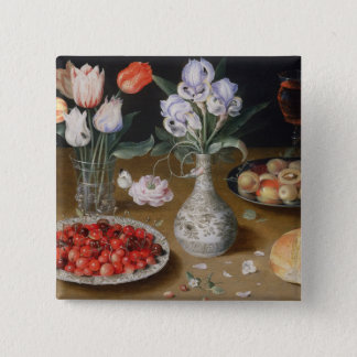 Still Lilies,Tulips, Cherries and Strawberries 15 Cm Square Badge