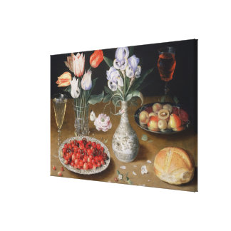 Still Lilies,Tulips, Cherries and Strawberries Canvas Print