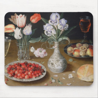 Still Lilies,Tulips, Cherries and Strawberries Mouse Mat