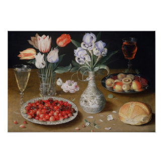 Still Lilies,Tulips, Cherries and Strawberries Poster