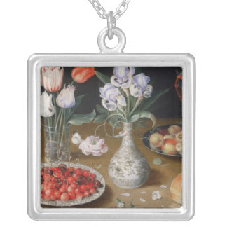 Still Lilies,Tulips, Cherries and Strawberries Silver Plated Necklace
