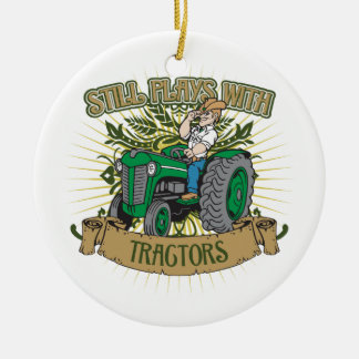 Still Plays With Green Tractors Christmas Ornament