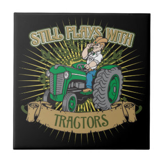 Still Plays With Green Tractors Small Square Tile