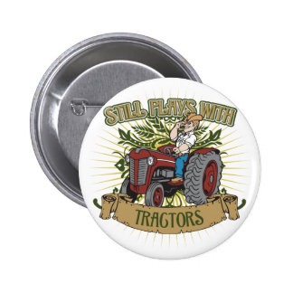 Still Plays With Red Tractors 6 Cm Round Badge