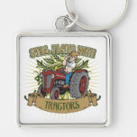 Still Plays With Red Tractors Silver-Colored Square Key Ring