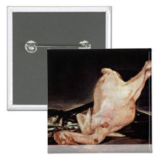 Still Plucked Turkey And Pan With Fish 15 Cm Square Badge