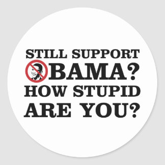 Still Support Obama? How Stupid Are You? Round Sticker