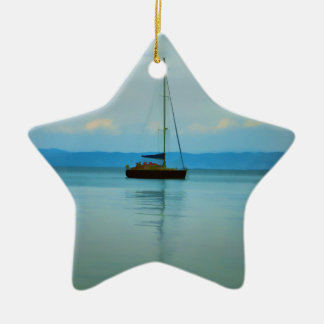 Still water with yacht christmas ornament