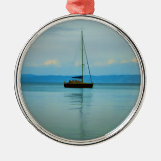 Still water with yacht Silver-Colored round decoration