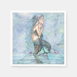 Still Waters Mermaid Mother and Infant Baby Shower Disposable Napkins