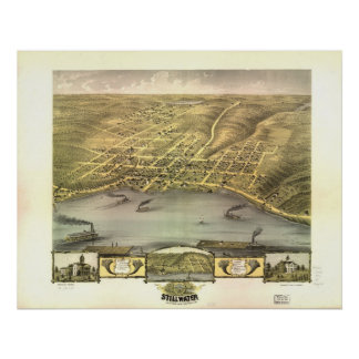 Stillwater Minnesota 1870 Antique Panoramic Map Poster