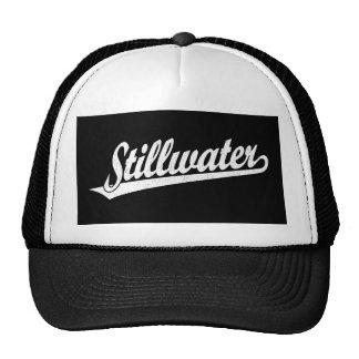 Stillwater script logo in white distressed cap