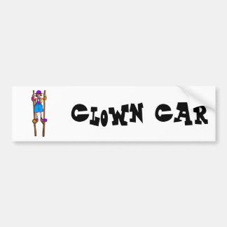stilt walker clown car bumper sticker