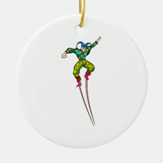 Stilt walking jester christmas ornament