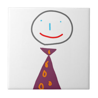 Sting man in tie small square tile