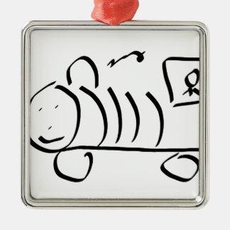 Sting man train Silver-Colored square decoration