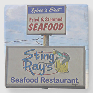 Sting Ray's Tybee Island Marble Coaster Stone Beverage Coaster