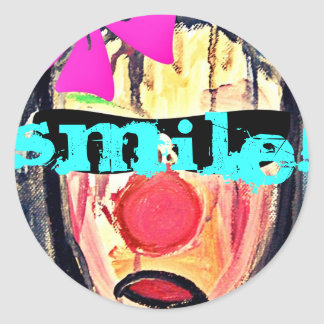 Stings cool smile round sticker