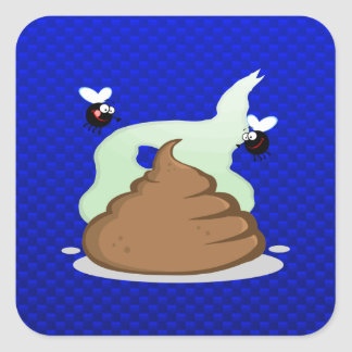 Stinky Poo Blue Square Stickers