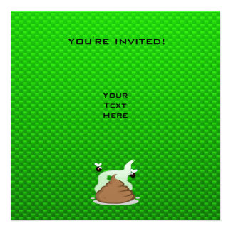 Stinky Poo Green Personalized Invite