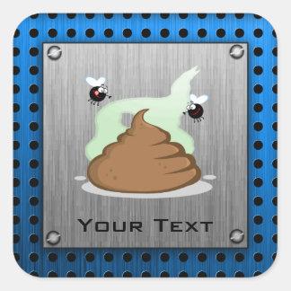 Stinky Poo; Metal-look Square Sticker