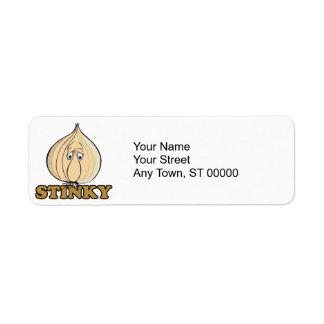 stinky sad garlic face return address label