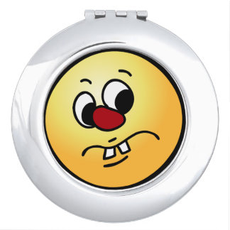 Stinky Smiley Face Grumpey Travel Mirror