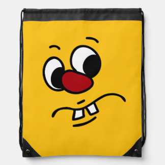 Stinky Smiley Face Grumpey Drawstring Backpack