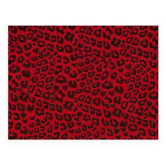 Stippled Cranberry Red Leopard Print Postcard
