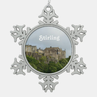Stirling Castle Scotland Snowflake Pewter Christmas Ornament