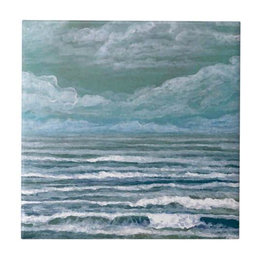 Stirred Up Sea Ocean Painting Beach Art Gifts Small Square Tile