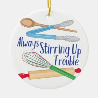 Stirring Up Trouble Round Ceramic Decoration
