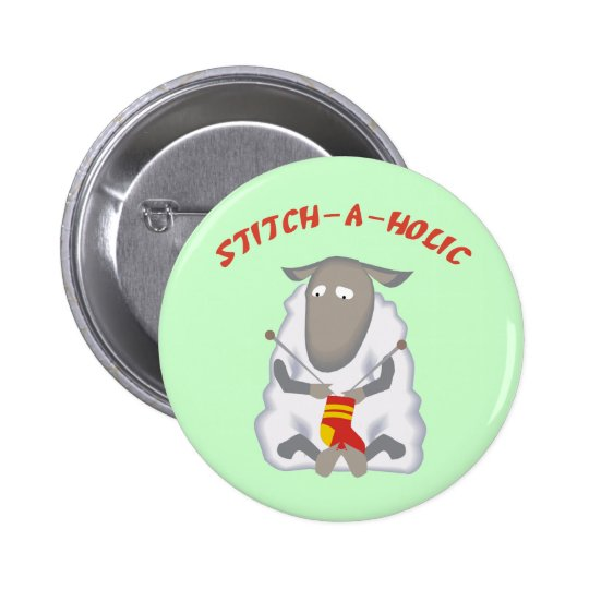 Stitch-a-holic Knitter Button