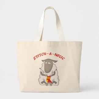 Stitch-a-holic Knitter Large Tote Bag