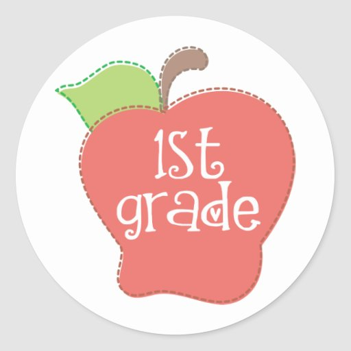 Stitch Apple 1st grade Round Sticker