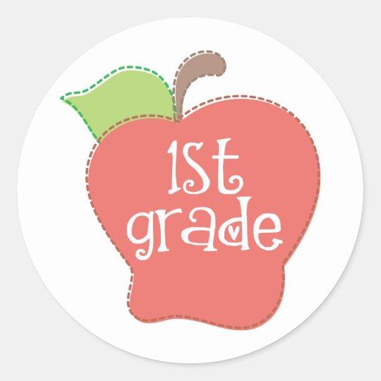 Stitch Apple 1st grade Round Sticker