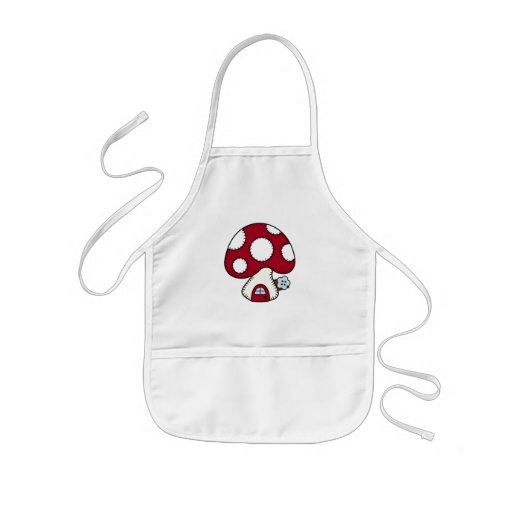 Stitched Design Red Mushroom House Fairy Home Aprons